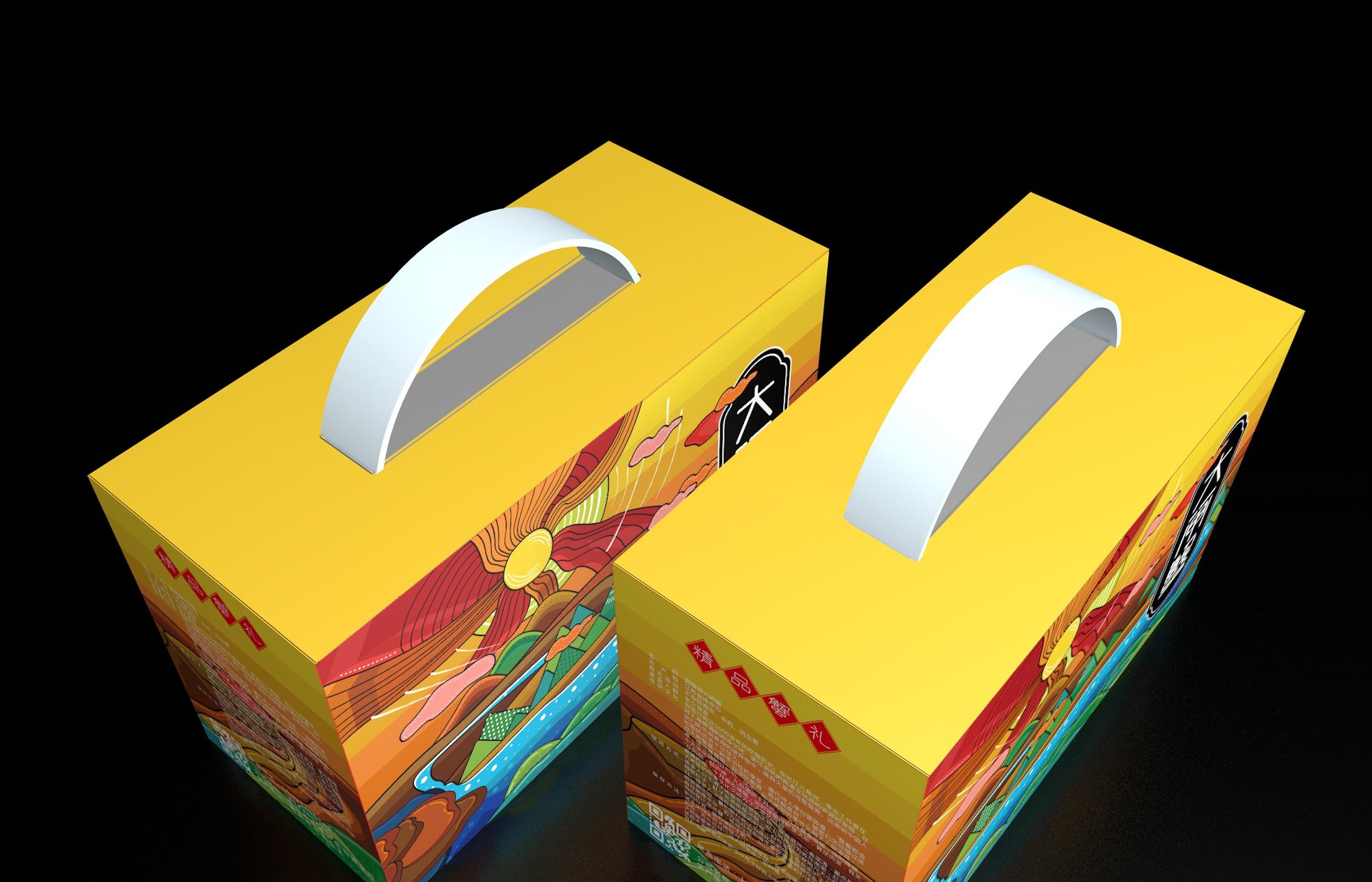 黄色瓦楞纸大闸蟹包装礼盒设计制作加工定制生产厂家