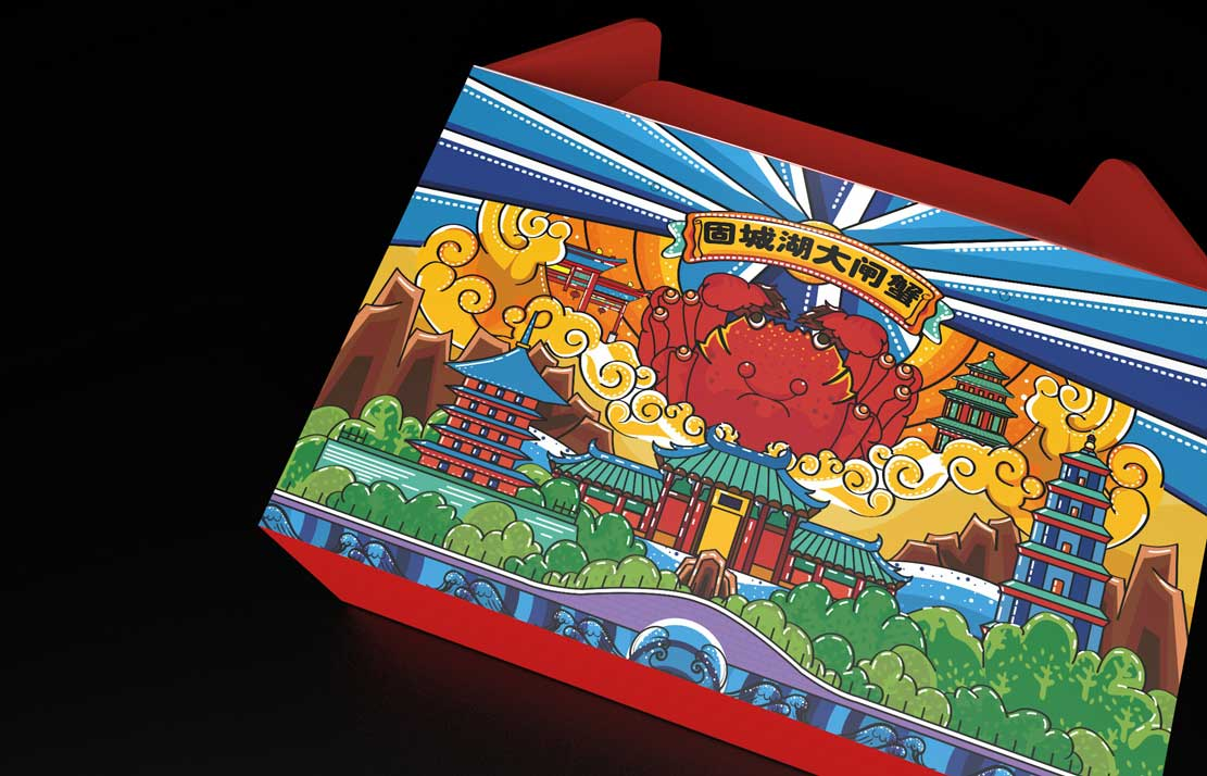 红蓝色大闸蟹手提瓦楞纸通用款包装礼盒设计制作加工定制生产厂家